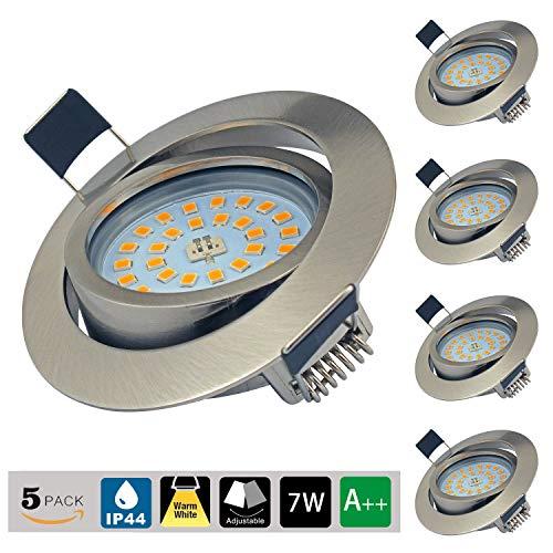 LED Einbaustrahler Ultra Flach Schwenkbar 5er Set Einbauspots 7W LED Modul 230V Einbauleuchten Warmweiß 3000K LED Spots IP44 für Wohnzimmer, Badezimmer, Büro
