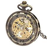 (シボサン) SIBOSUN ブランド 無蓋 設計 機械式 手巻き 懐中時計 チェーン 男性 ブロンズ アンティークギフト ボックス