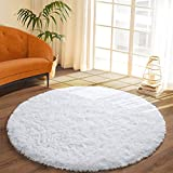 DETUM Soft Round Fluffy Bedroom Rugs for Girls Boys, Fuzzy Circle Area Rug for Nursery Playing Reading Room, Kids Room Carpets Shaggy Cute Rugs for Dorm Bedside Home Décor, 4 Feet, White