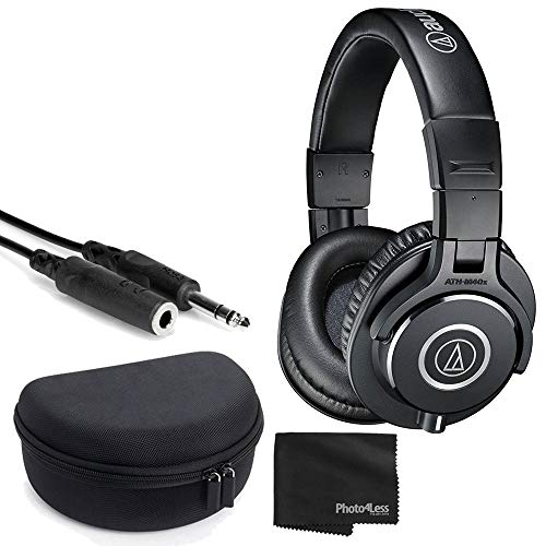 Audio-Technica ATH-M40x Professional Monitor Headphones + Headphone Case + 1/4 inch TRS Cable + Cleaning Cloth
