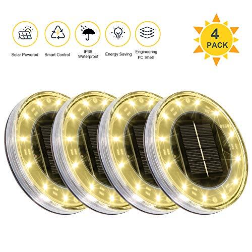 Litake Solar Bodenleuchten Aussen, 12 LED Solarleuchte Warmweiss IP68 Wasserdicht Solar Gartenleuchten für Außen Solarlampen für Garten Boden Gehweg Deck Terrasse Weg Rasen Auffahrt,4 Stück