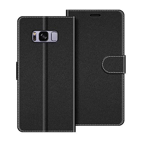 COODIO Custodia per Samsung Galaxy S8 Plus, Custodia in Pelle Samsung Galaxy S8 Plus, Cover a Libro Samsung S8 Plus Magnetica Portafoglio per Samsung Galaxy S8 Plus Cover, Nero