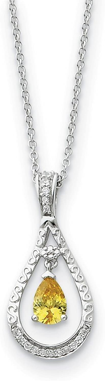 925 Sterling Silver Nov. CZ Stone Never Forget Tear 18in Necklace