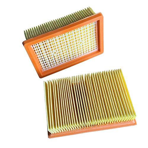 Clean Fairy aspiradora filtros 2-pcs repuesto para auténtica Karcher flat-pleated MV4 MV5 MV6 WD4 WD5 WD6 P Premium WD5