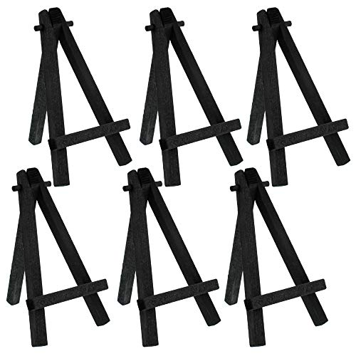 """U.S. Art Supply 5"""" Mini Black Wood Display Easel - A-Frame Artist Painting Party Tripod Easel - Tabletop Holder Stand for Small Canvases, Kids Crafts, Business Cards, Signs, Photos (Pack of 6)"""