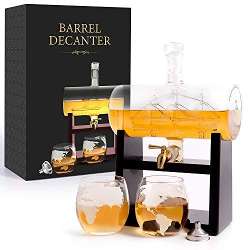Barrel Decanter Set 1160ml Barrel with Ship Gold Faucet Glass Spout Globe Glasses