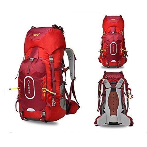 60L Alpinisme Sac à dos Voyage et multifonction épaule étanche , red