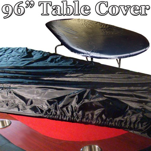 Deluxe Black Vinyl Holdem Poker Table Cover - Fits Most Tables up to 96 Inches Long and 44 Inches Wide!