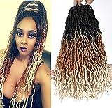 18inch Ombre Nu Faux Locs Crochet Gypsy Locs Hair 6 Packs Pre-looped Freetress Wave Crochet Soft Locs Hair Curly Crochet Hair for Black Women (1b/30/613, 18inch)
