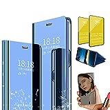 Jtailhne Compatible con Funda Samsung Galaxy A8S, PU PC TranslúCido Flip Espejo Carcasa Ver Fecha/Hora, Despertar Inteligente, Plegable Soporte Case Azul+2X Cristal Templados