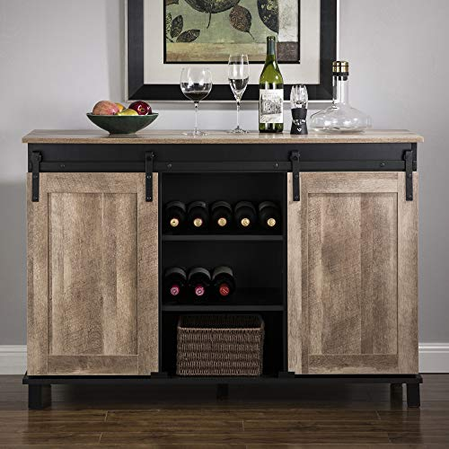 Glitzhome Wood Rustic Wine Cabinet 3-Sections Bar Cabinet with Wine Storage...