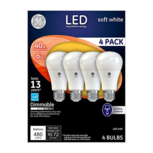 GE Lighting 67607 Dimmable LED A19 Light Bulb with Medium Base, 6-Watt, Soft White, 8-Pack