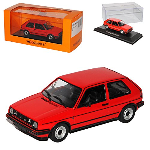 Volkwagen Golf II GTI 3 Türer Rot 1983-1992 1/43 Minichamps Maxichamps Modell Auto mit individiuellem Wunschkennzeichen