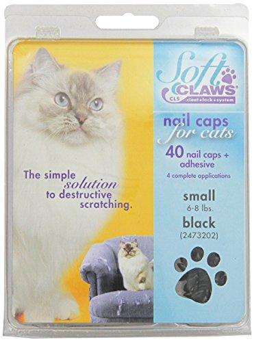 Soft Claws Kit de Protège-Griffes pour Chats Adultes Noir - SMALL