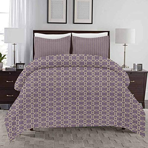HouseLook Geometric Duvet Cover Set King Size Abstract Lines with Curvy Oval Shapes Traditional Chain Motifs Retro Style 3D Pattern Bedding Set Decorative 3 Piece Bedding Set with 2 Pillow Shams