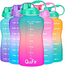 QuiFit Motivational Gallon Water Bottle - with Straw & Time Marker,BPA Free Reusable Large Leakproof Portable Water Jug,for Fitness Camping Outdoor Sports (Green/Pink,1 Gallon)