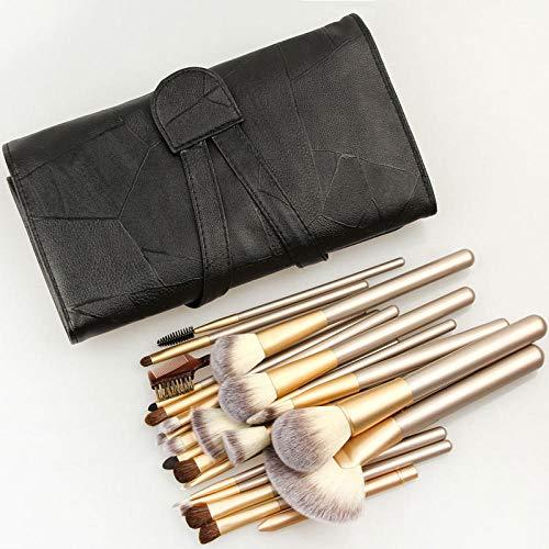 GCY Pinceau de maquillage Ensemble de pinceaux de maquillage 24 Kit de pinceau de maquillage cosmétique Fan Foundation Foundation Eyeliner Brush and Leather Case
