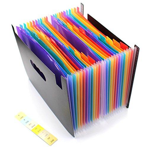 Fächermappe / Akkordeon-Ordner mit 24 Fächern, A4-Format, tragbar, erweiterbar