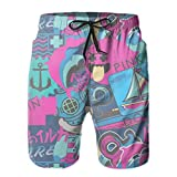 Mens Pink Dolphin Swim Trunks with Mesh Lining Quick Dry Bathing...