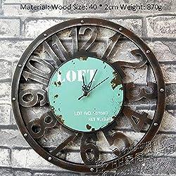 Retro Industrial Winds Loft Wall Clock Pocket Watch Home Bar Restaurant Shop Decoration Gear Watches and Clocks (Color : Blue)