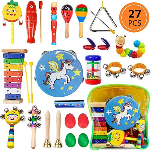 Yetech 27 Pcs Toddler Musical Instruments Set Percussion Instrument Toys Toddler Musical Toys Set Rhythm Band Set Birthday Gift for Toddlers Kids Preschool Children with Storage Bagpack