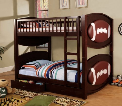 Furniture of America Football Bunk Bed with 2-Drawers, Twin