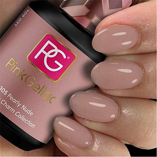 Pink Gellac Shellac Gel Nagellack 15 ml für UV LED Lampe | 305 Pearly Nude Perlen | Gel Nail Polish for UV Nail Lamp | LED Nagel Lack Gellack Nagelgel