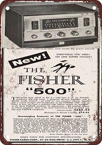 Fhdang Decor 1957 Fisher 500 Receiver Vintage Look Reproduktion Metallschild Aluminium Schilder 8x12 inches Multi