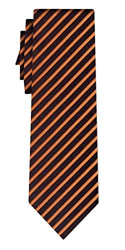 Cravate soie rayée fine orange stripe on black