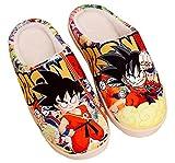 WANHONGYUE Dragon Ball Anime Zapatillas de Casa Hombre Mujer Pantuflas Invierno Felpa Cálido Zapatos Antideslizantes Slippers para Interiores Exteriores