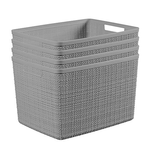 Curver Set of 4 Jute Large Decorative Plastic Organization and Storage Basket Perfect Bins for Home Office, Closet Shelves, Kitchen Pantry and All Bedroom Essentials, 21.1QT/ 20L, Grey