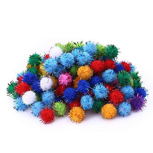 MEIFXIH 100 PCS Glitter Pompoms,1.5cm Sparkle Balls,Multicolored Glitter Poms for DIY Doll Creative Crafts Decorations