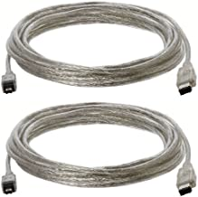 15-Foot IEEE-1394 6-Pin to 4-Pin FireWire 400/400 Cable Clear - Pack of Two