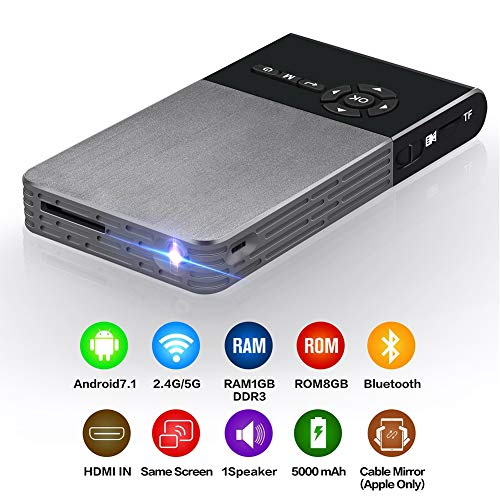DLP Mini Portable Projector, Android 7.1 Hdmi WiFi Wireless Bluetooth Home Theater 120 inch projector met 4300 lumen + DLP 0.3 DMD + afstandsbediening + 8 GB RK3128 voor smartphone laptop PC home theater (EU)