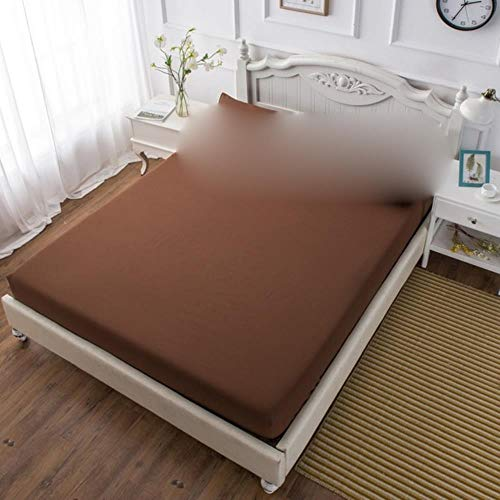 2/3PC Bed Sheet Set Fitted Sheet with Pillow Case Bedding Mattress Cover Brushed Microfiber Ultra Soft Hypoallergenic Breathable,Brown,90x190cm(2pcs)