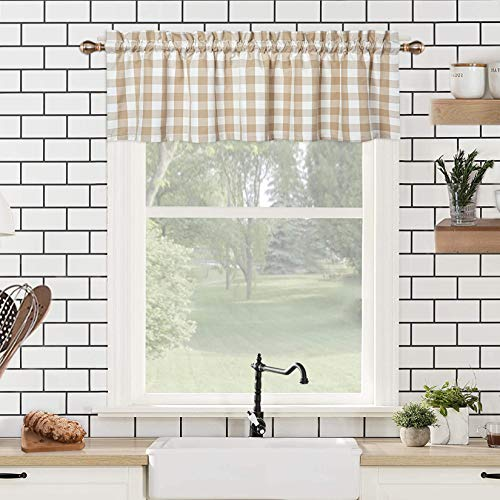 Buffalo Check Plaid Cotton Blend Tailored Farmhouse Valance Curtains for Kitchen Bathroom Windows, Tan and Cream, 54 x 15 Inches