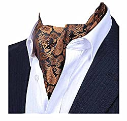 MENDENG Mens Gold Purple Paisley Jacquard Woven Silk Cravat Formal Ties Ascot