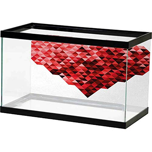 bybyhome Background Fish Tank Burgundy,Futuristic Modern Heart in Geometrical Ombre Style in Squared Pixels Artwork,Red and Ruby Various Patterns