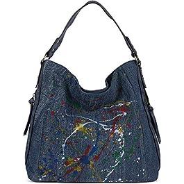 styleBREAKER Sac à main pour femmes Hobo Bag en denim avec motif d'éclaboussures colorées, shopper, sac à bandoulière…