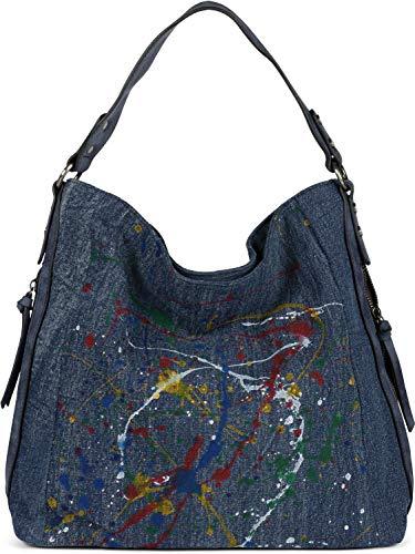 styleBREAKER Borsa Hobo Bag da donna in denim con motivo colorato a spruzzo, shopper, borsa a tracolla, borsa 02012350, colore:Blu scuro-Blu