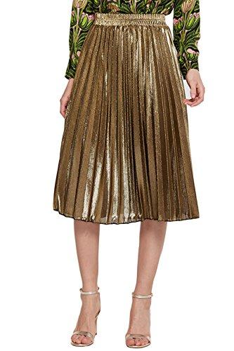 CHARTOU Women's Premium Metallic Shiny Shimmer Accordion Pleated Knee-Length Midi Skirt (X-Large, Gold-Knee Length)
