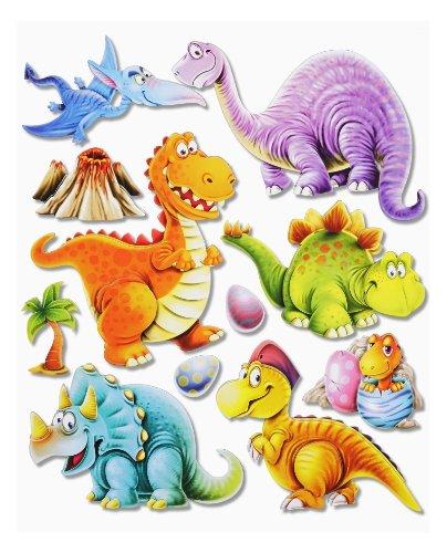 Stickerkoenig Wandtattoo 3D Sticker Wandsticker Kinderzimmer - niedliche Dinosaurier Dinos II #501 - Deko auch für Fenster, Schränke, Türen etc auf Bogen