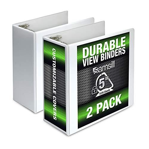 Samsill Durable 5 Inch Binder White D-Ring Binder/Customizable Clear View Binder/Bulk Binder 2 Pack/White 3 Ring Binder 5 inch, MP26407