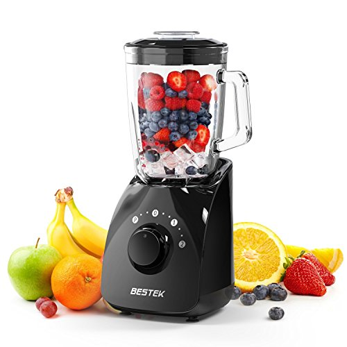 BESTEK 350 Watts Smoothie Blender, 2-Speed Blender for Shakes and Smoothies,Professional Smoothie Maker with 1.5L BPA Free Glass Jar,UL Certified,Black
