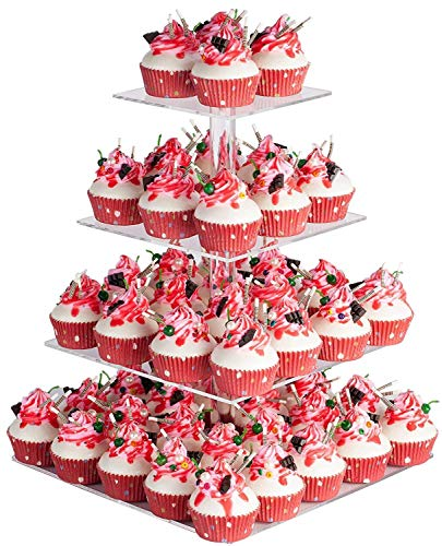 """YestBuy 4 Tier Acrylic Cupcake Stand, Premium Cupcake Holder, Acrylic Cupcake Tower Display Cady Bar Party Décor – Display for Pastry(4.7"""" Between 2 Layers)"""