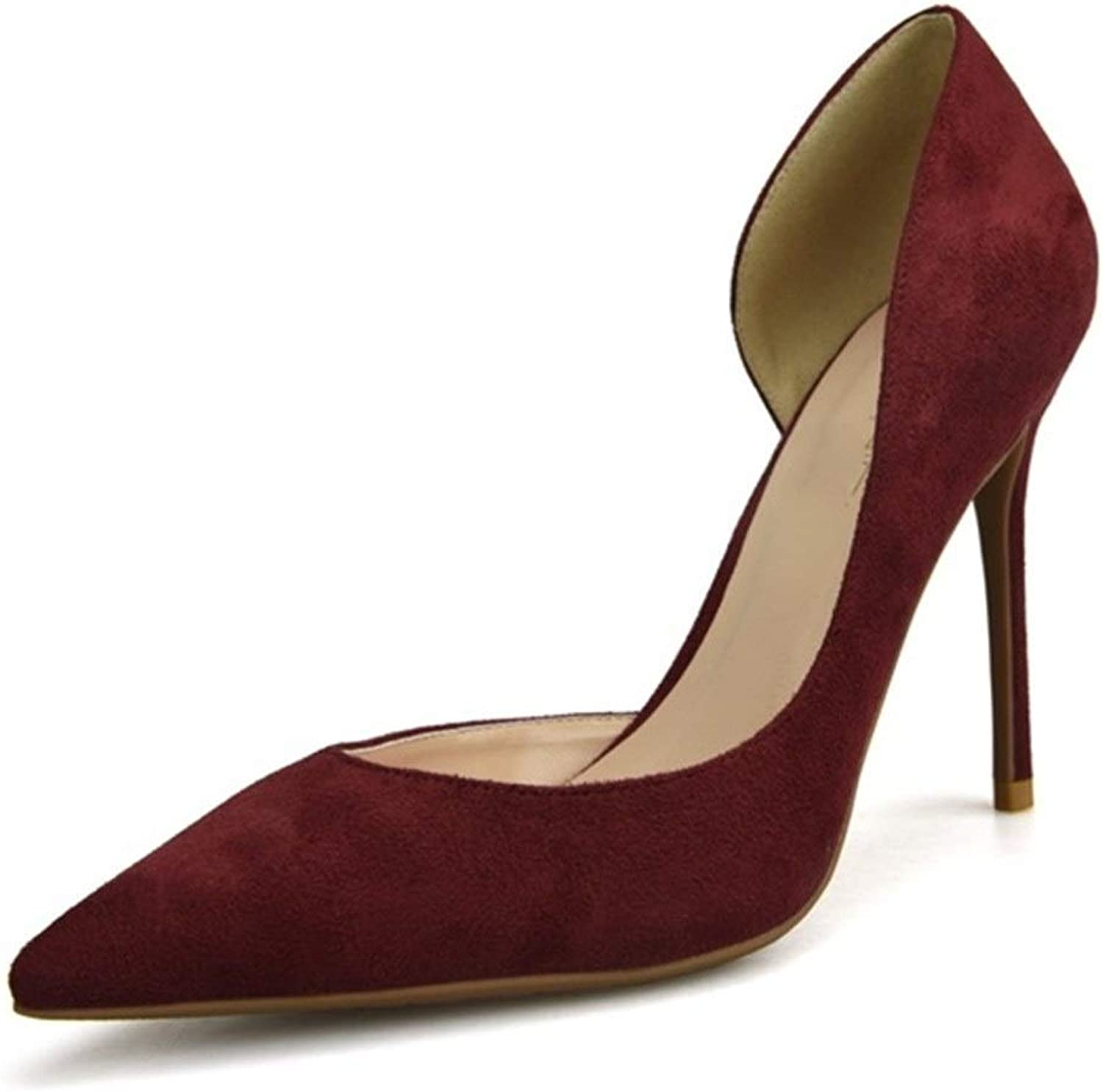 ZerenQ D'Orsay Pumps for Women High Stiletto Heels Side Cut Sexy Pointed Toe Dress Sandals for Ladies Party Wedding shoes Slip On Suede Pumps Durable (color   Red 8 cm Heel, Size   5.5 M US)