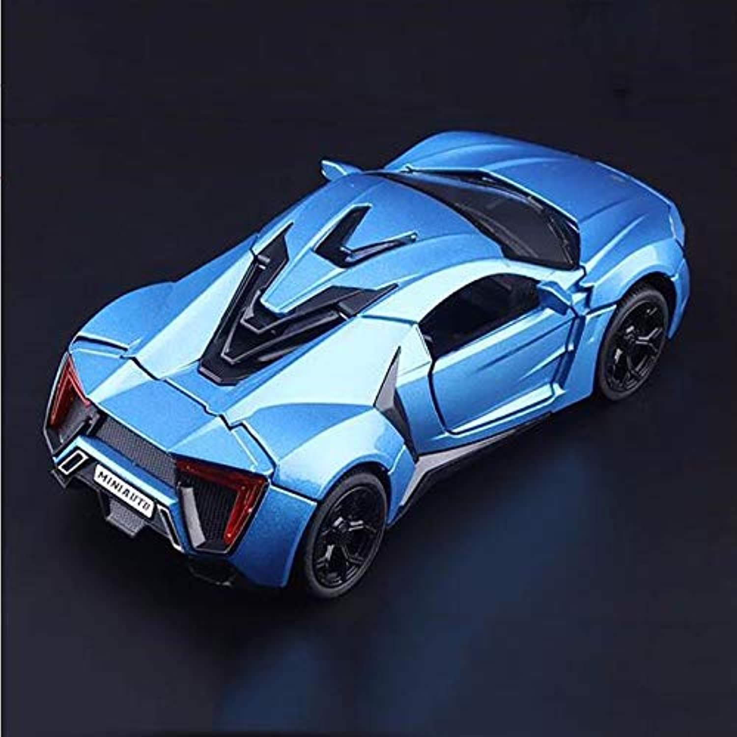 Generic 1 32 Scale Diecast Alloy Car Model Toys bluee Lykan Hypersport Car Model with Light & Sound Gifts Collections