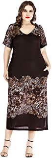 Women's Short Sleeve Dress Loose Casual V-Neck Printing Split Long Dresses Simple (Color : Brown, Size : 4XL)