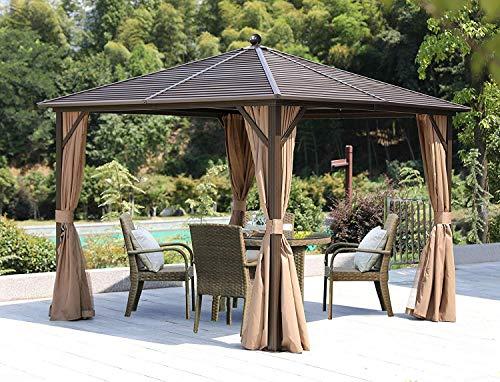 YOLENY Outdoor Hardtop Gazebo Canopy Curtains Aluminum with Mesh Net Curtains