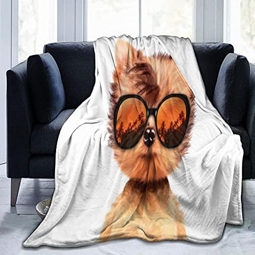 YZBEDSET Coperta Flannel in Pile,Cane in Occhiali da Sole Isolato su Sfondo Bianco Morbido Accogliente per Bambini Ragazzi Adulti Coperta per Letto e Divano 125x100cm